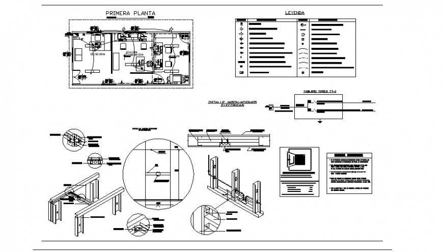 Office plan and electrical fitting detail 2d view layout file in autocad format