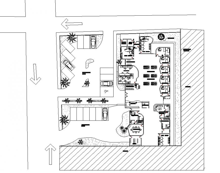Office plan detail & dwg file.