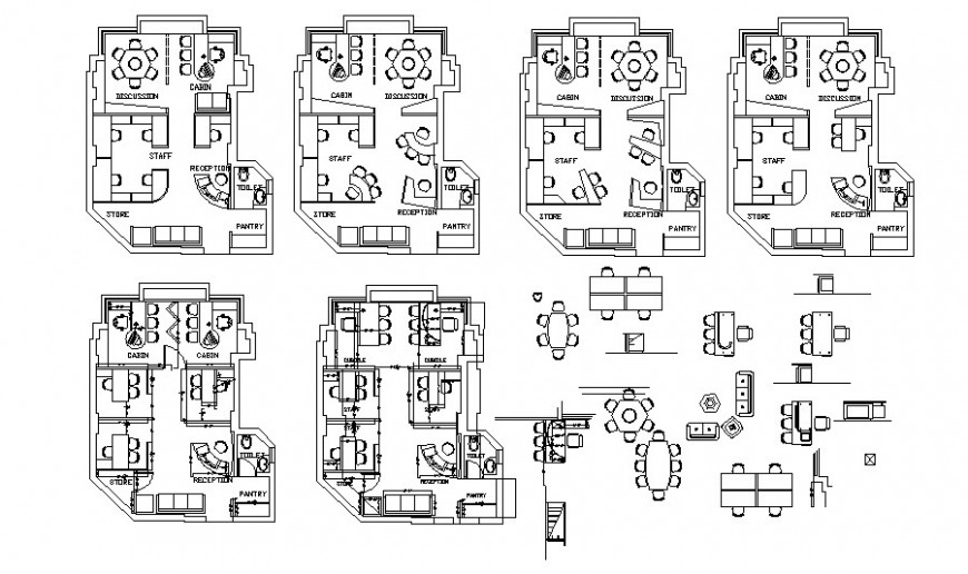 Office rooms details work plan drawings 2d view autocad software file