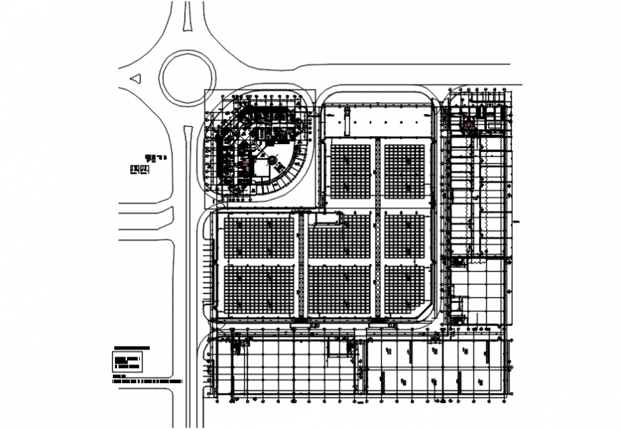 Office site layout plan of top view autocad file
