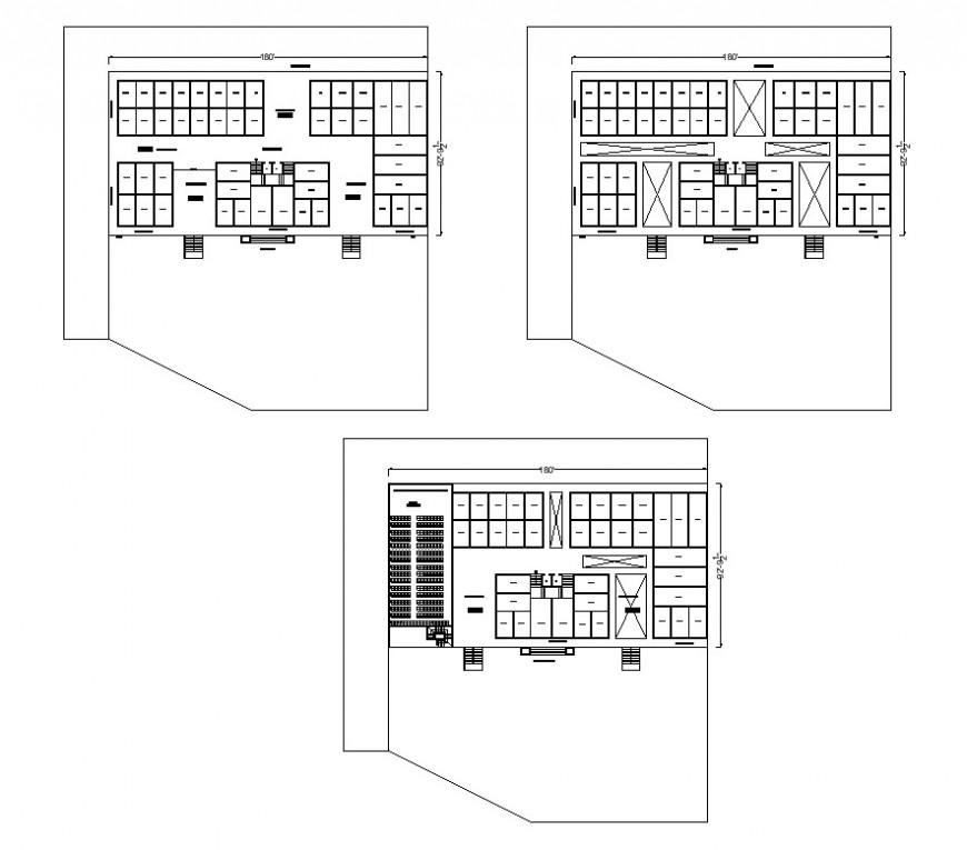 Office structure building 2d view CAD constructive block layout autocad file