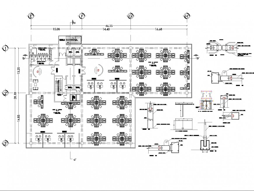 Office structure detail layout plan