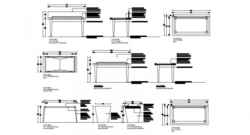 Office table elevation, section and plan cad drawing details dwg file