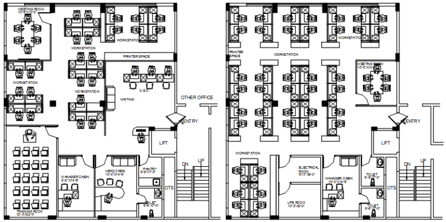 Office top view plan complete detail