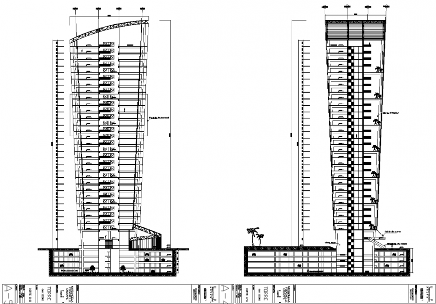 Office tower building section drawing in dwg file.