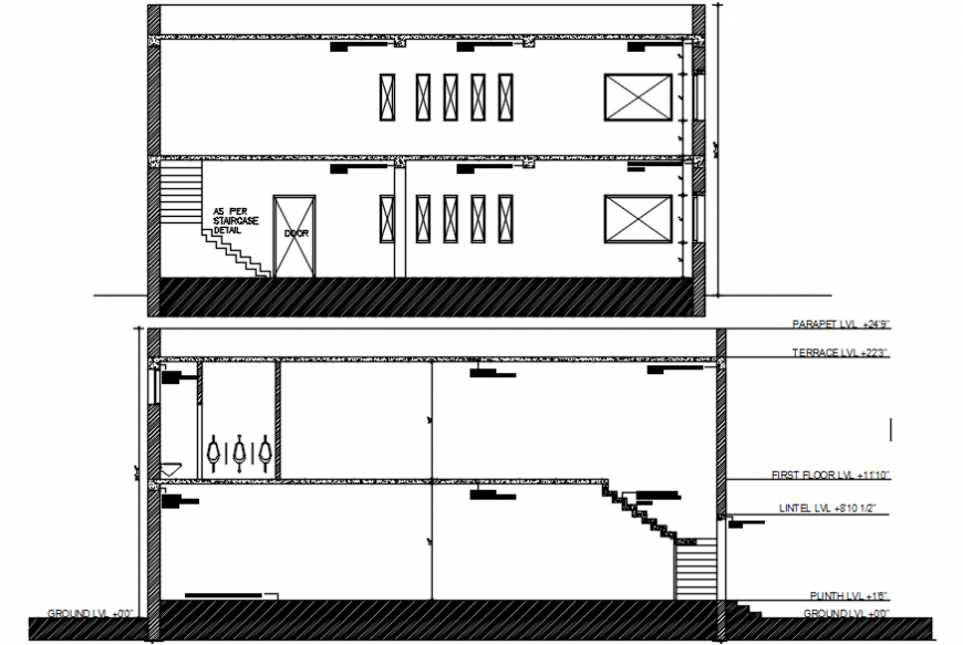 Office two story building front and back section cad drawing details dwg file