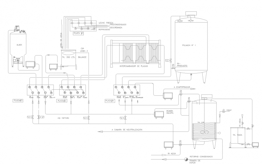 Oil chamber and distribution plant drawing in dwg file.