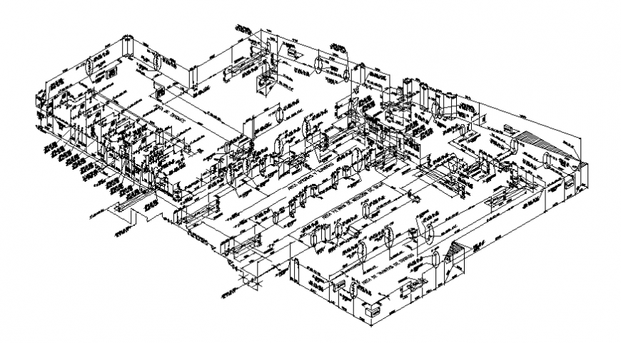 Oil refinery industrial plant-isometric view plan cad drawing details dwg file