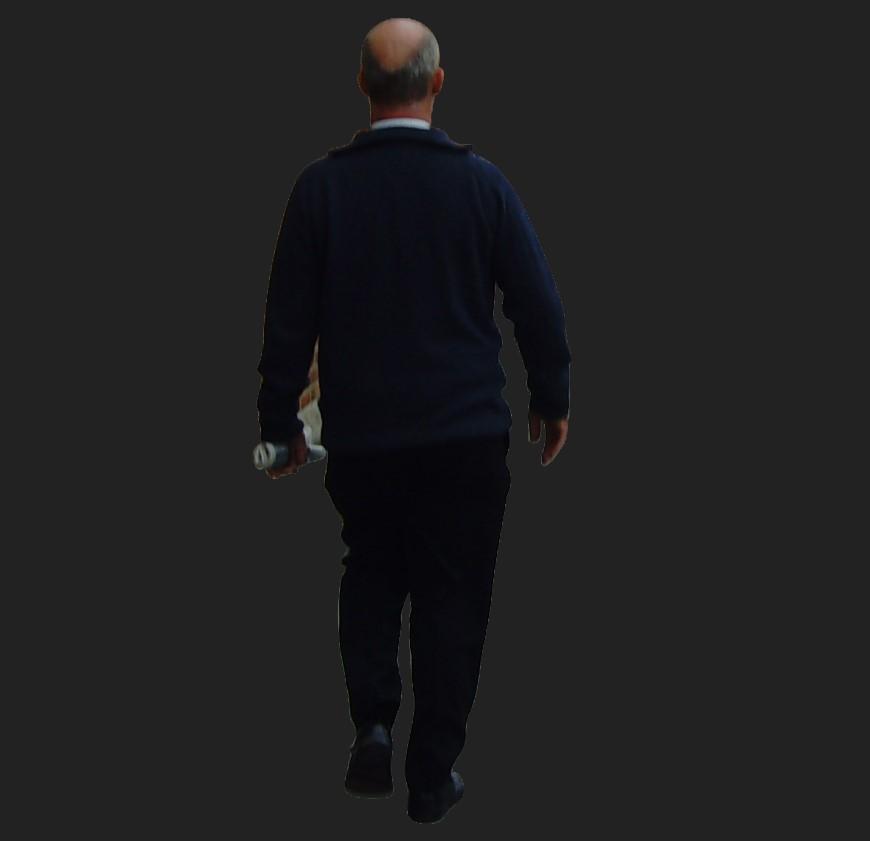 Old aged bald man detail 3d model layout file