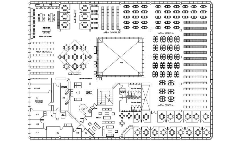 Old big library distribution plan with furniture drawing details dwg file