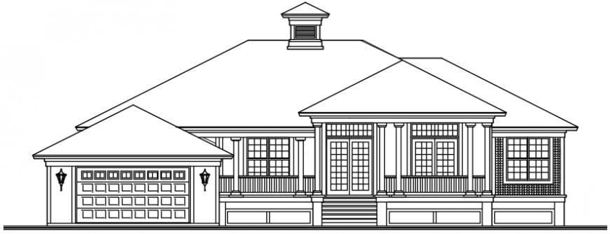Old house front elevation cad drawing details dwg file
