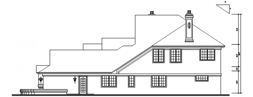 Old house right side elevation cad drawing details dwg file