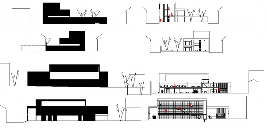Old library building all sided elevation and section cad drawing details dwg file