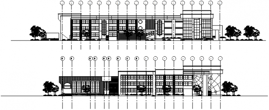 Old library main and back elevation cad drawing details dwg file