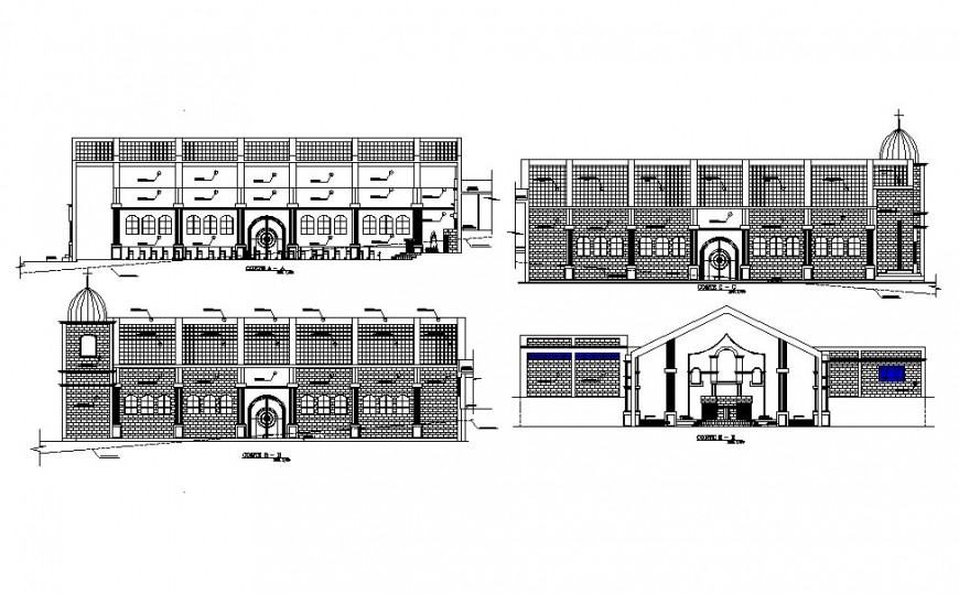 Old multi-story church building elevation and section cad drawing details dwg file