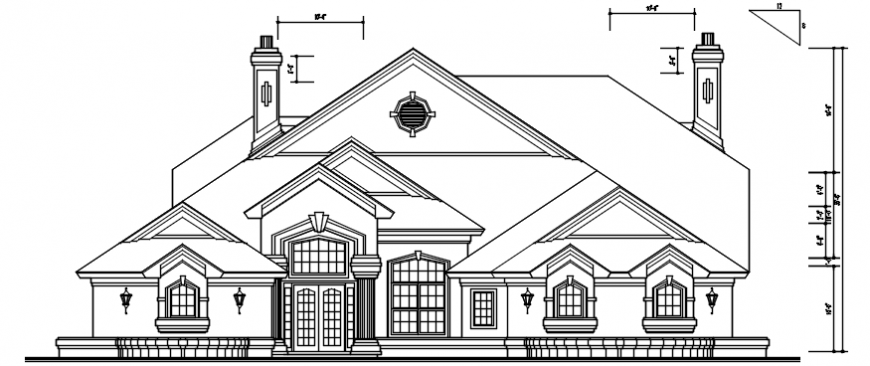 Old one story house front elevation cad drawing details dwg file