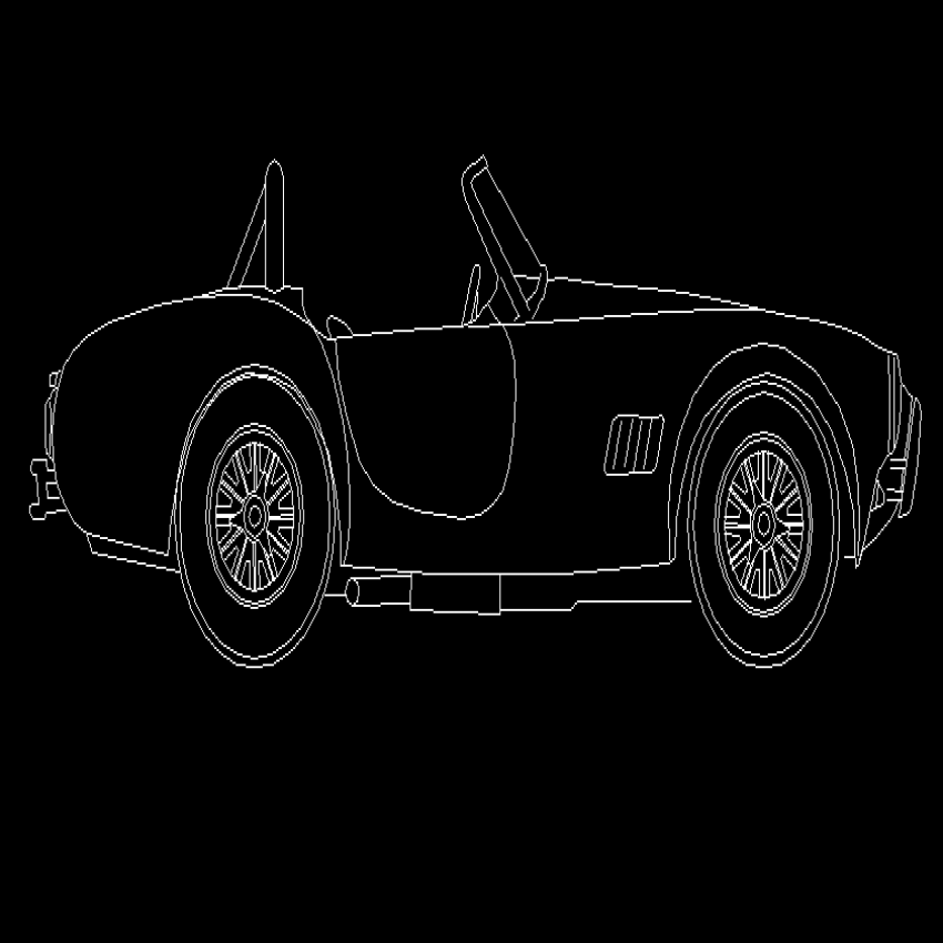 Old two seated sports car cad block design dwg file
