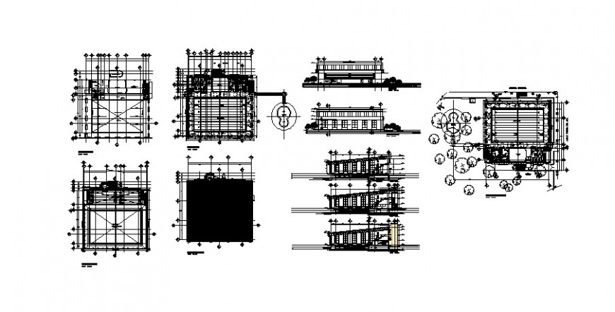Olympic swimming pool sport centre plan and elevation in auto cad