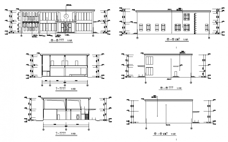 One-level house all sided sections cad drawing details dwg file