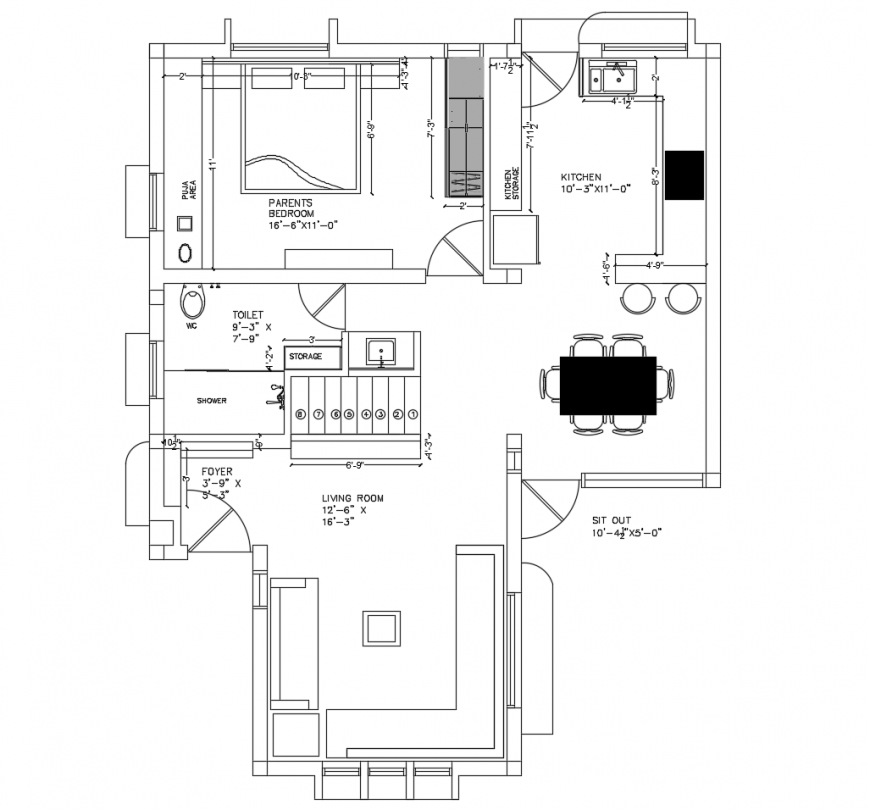 One bedroom house architecture layout plan cad drawing details dwg file