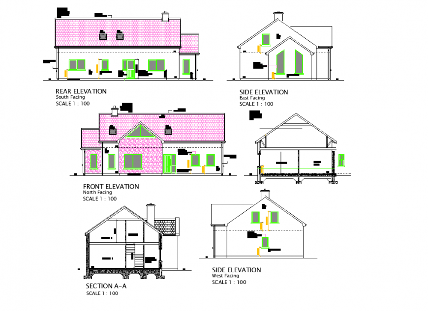 One BHK house elevation and section layout file