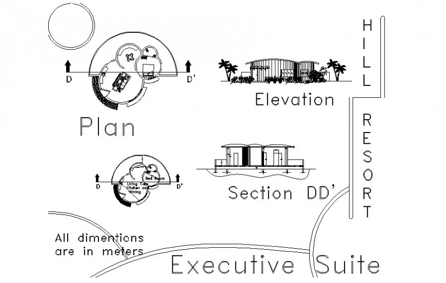 One bhk house plan elevation and section autocad file
