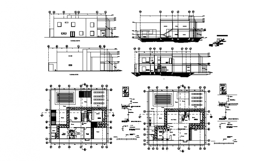 One family 3 bedroom house elevation, section and floor plan cad drawing details dwg file