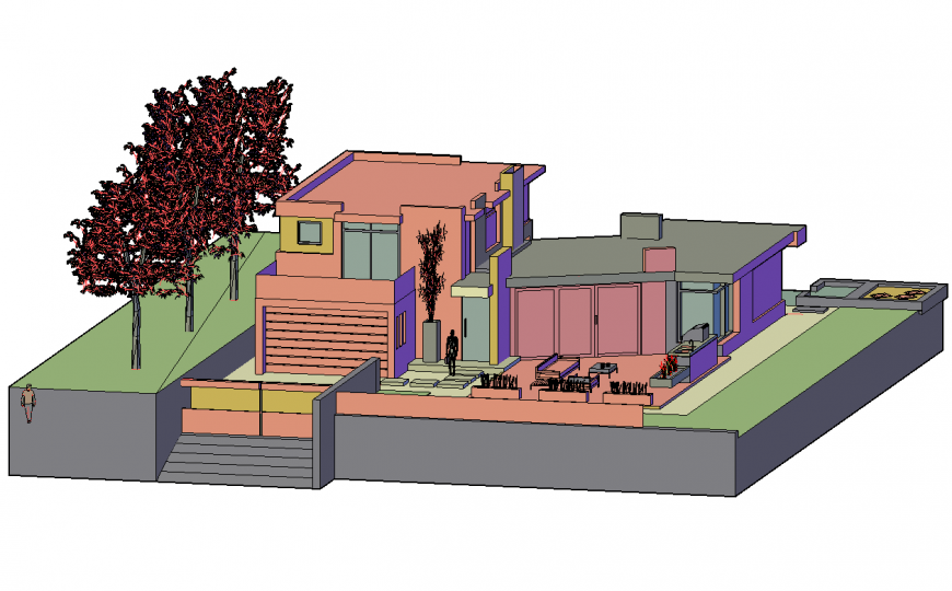 One family 3d bungalow design cad drawing details dwg file