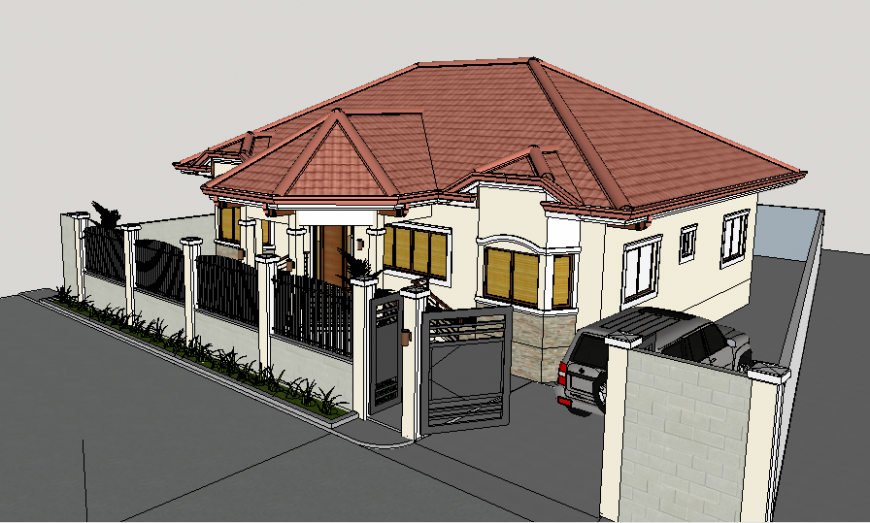 One family 3d bungalow design with fence cad drawing details dwg file