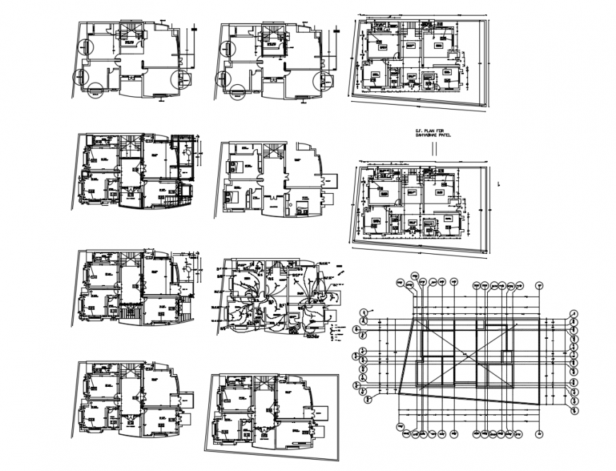 One family bungalow all floor layout plan details with foundation plan dwg file