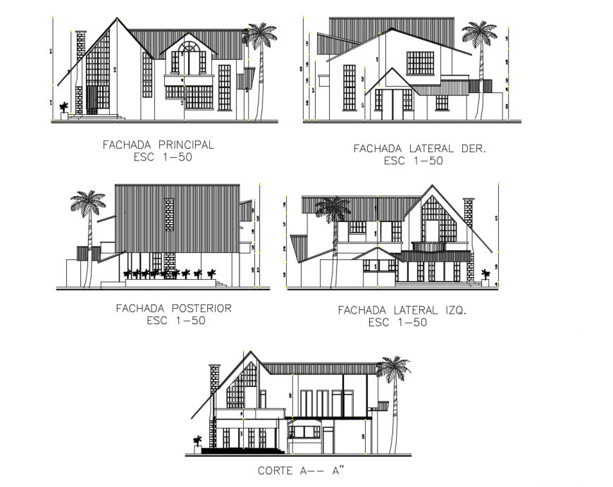 One family bungalow all sided elevation and section cad drawing details dwg file