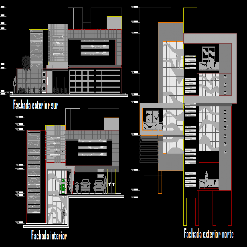 One family bungalow elevation and sectional details dwg file