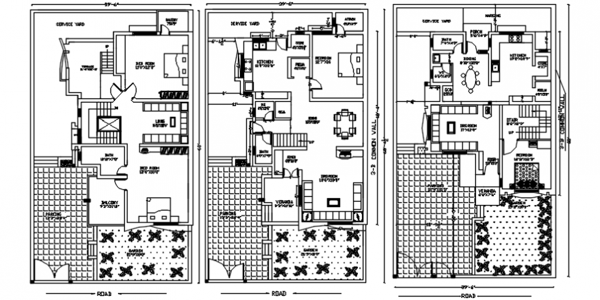 One family bungalow floor plan distribution with furniture drawing details dwg file
