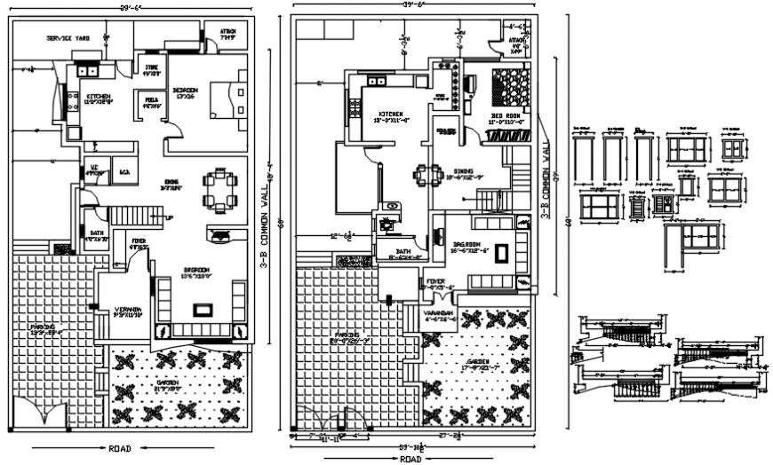 One family bungalow floor plan with furniture and door and window details dwg file