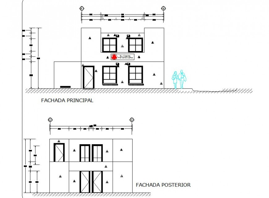 One family elevation plan detail dwg file