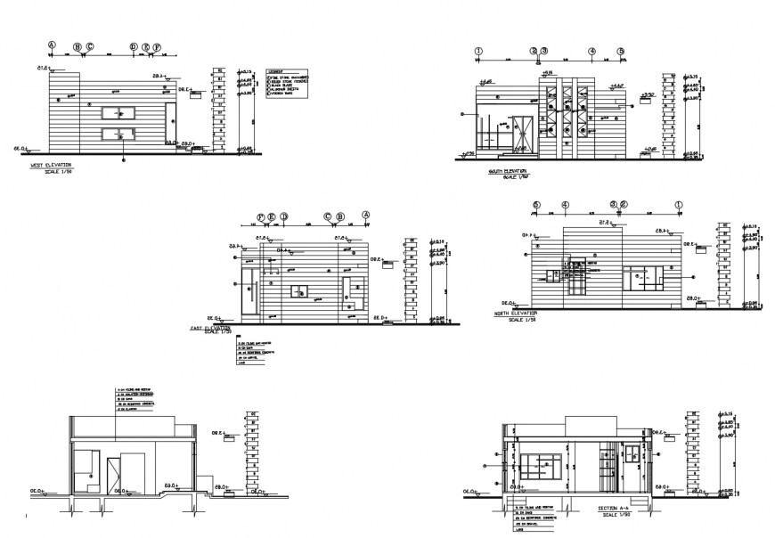 One family house all sided constructive section cad drawing details dwg file