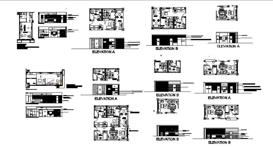 One family house all sided elevation, section and floor plan drawing details dwg file