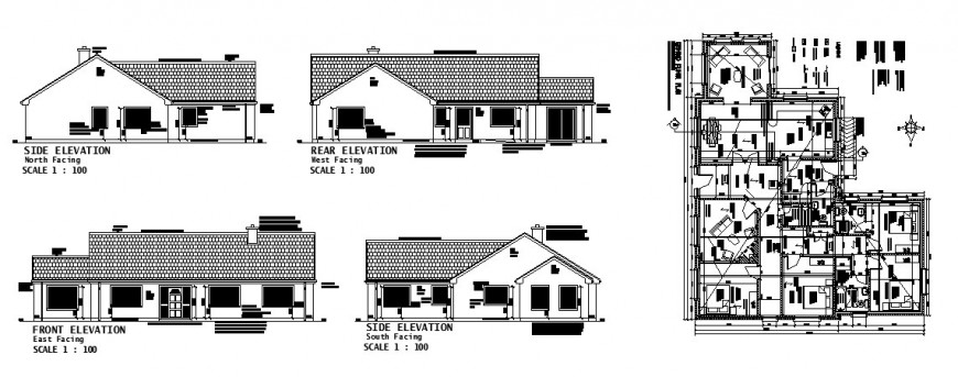 One family house all sided elevation and distribution plan cad drawing details dwg file
