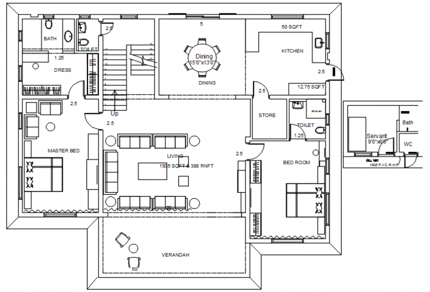 One family house architecture layout plan along with furniture cad drawing details dwg file