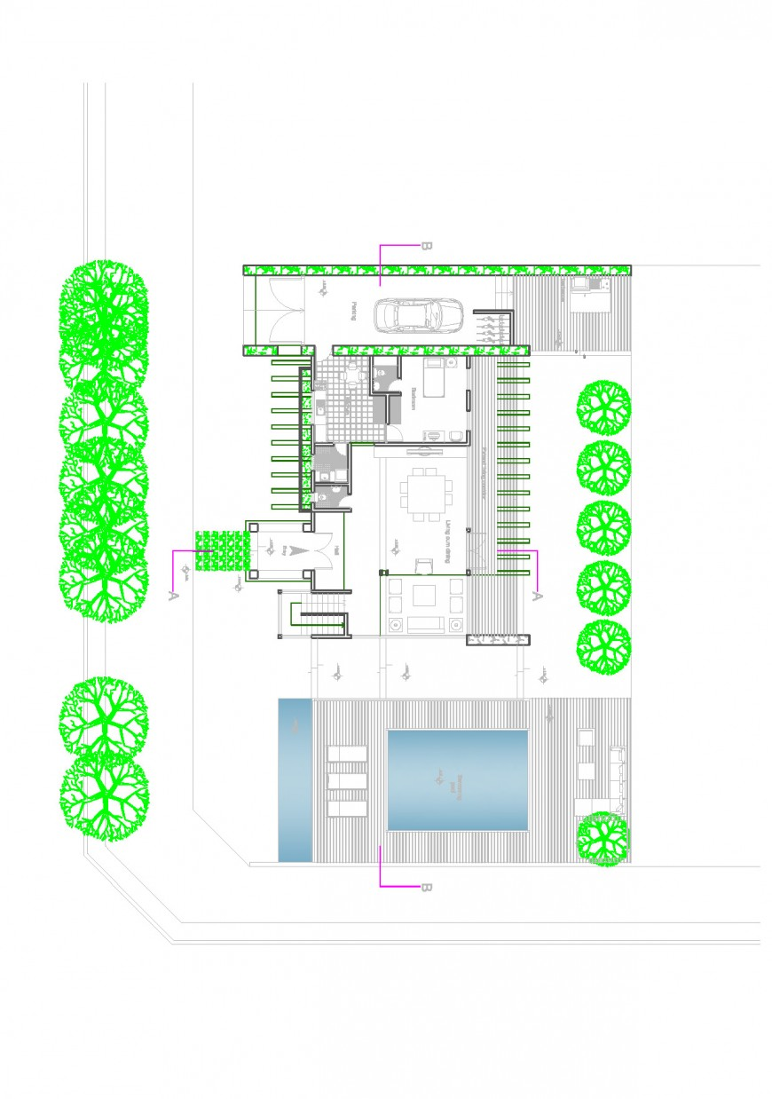 One family house architecture layout plan and cover plan details dwg file