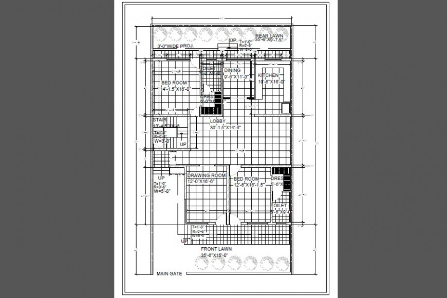 One family house architecture plan cad drawing details dwg file