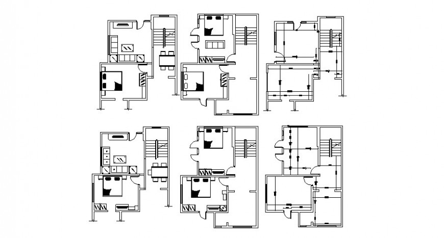 One family house bedroom, dining area and drawing room layout plan cad drawing details dwg file