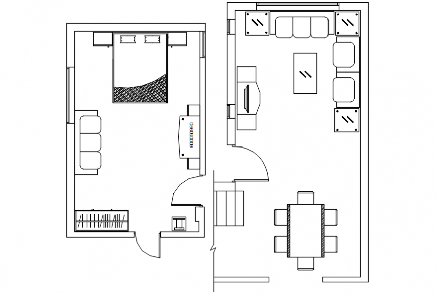 One family house bedroom and drawing room layout plan cad drawing details dwg file