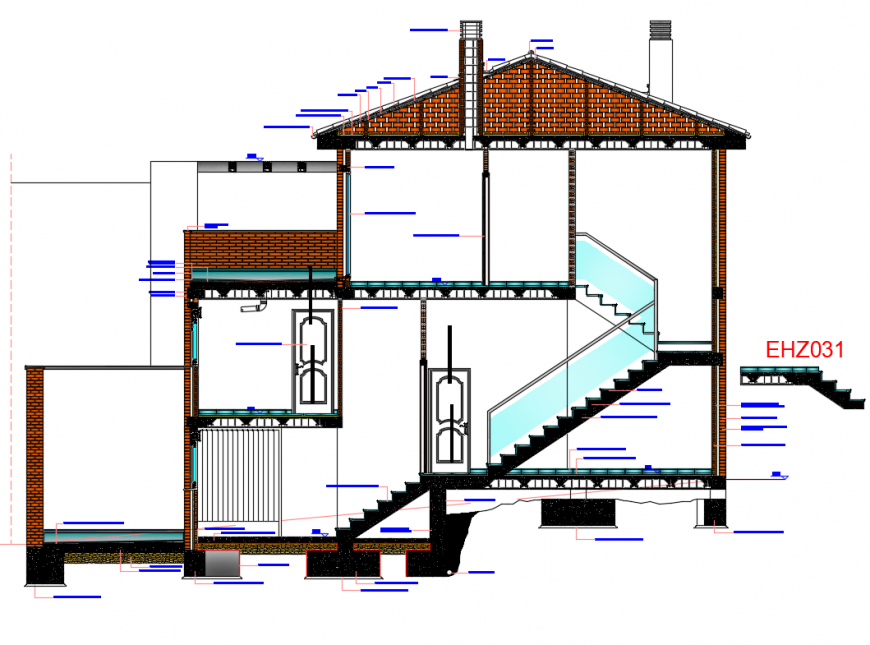 One family house building front sectional details dwg file