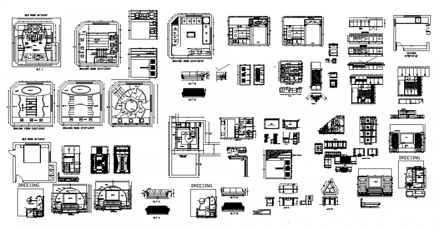 One family house ceiling details with furniture and interior details dwg file