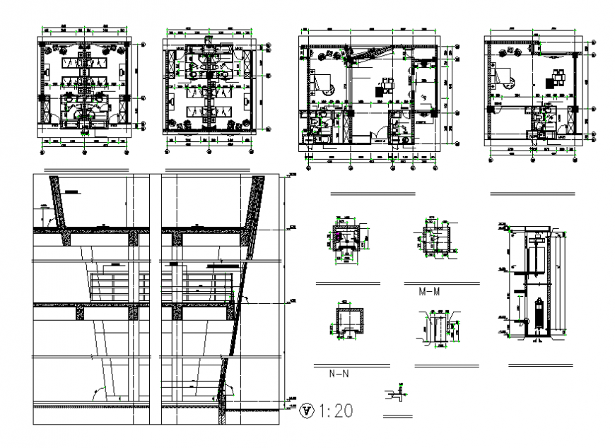 One family house constructive section and plan details dwg file