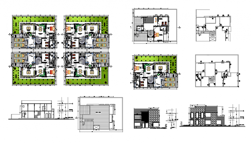 One family house detailed elevation, section, floor plan and auto-cad drawing details dwg file