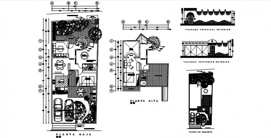 One family house distribution plan and gate elevation drawing details dwg file