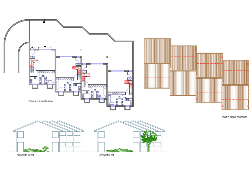 One family house elevation, plan and auto-cad details dwg file