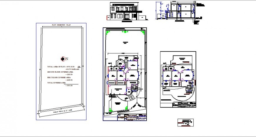 One family house elevation, section, floor plan and cad drawing details dwg file